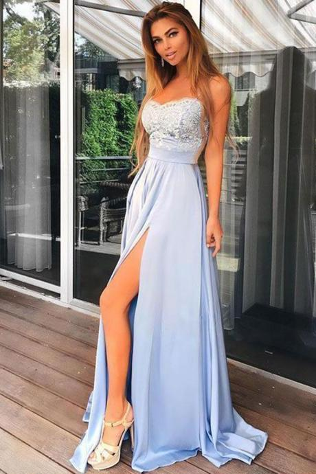 Spaghetti Straps Chiffon Prom Dress, Charming Light Blue Prom Dress, Long Lace Top Prom Dress, Split Evening Party Gowns