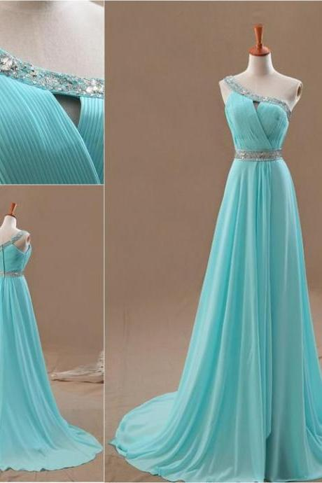 Wedding Dresses, Bridesmaid Dresses, Graduation Dresses,One Shoulder Bridesmaid Dress,Long evening Formal Prom Gowns Blue Gowns