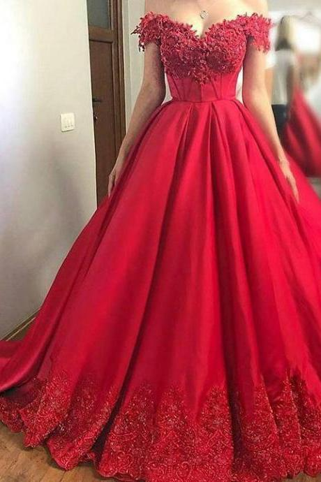 New Women Evening Dresses Red Ball Gown Prom Dresses off the Shoulder Prom Gown Lace Applique Prom Dresses