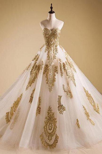 Wedding Dresses,White Bride Dress,Quinceanera Dress,Elegant Gold Neck Tulle Strapless Sweetheart Lace Ball Gown Prom Dress