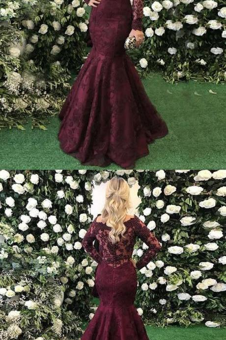 New Burgundy Mermaid Prom Gowns Evening Dress Lace Appliques Long Sleeves Beaded Prom Dresses