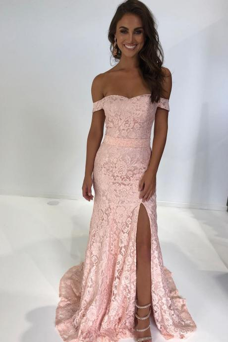 Pink Prom Dresses, Gorgeous Off the Shoulder Pink Mermaid Lace Long Party Dress with Side Slit Prom Dress, Lace Prom Dresses, Evening Dress Prom Gowns, Formal Women Dress, Prom Dress