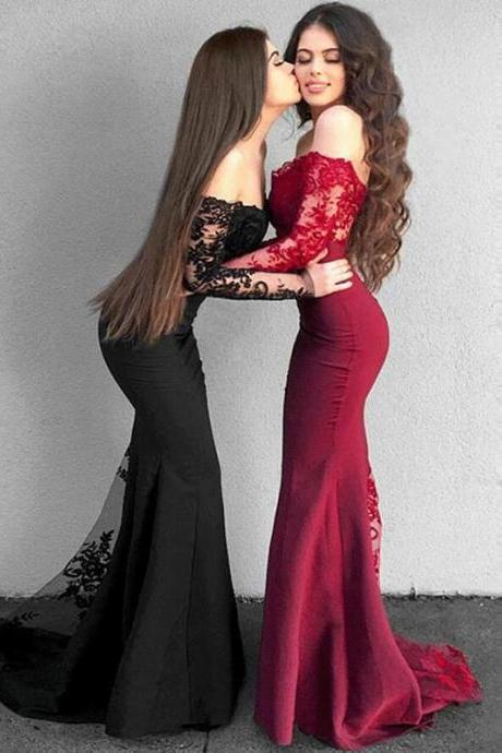 Lace Mermaid Prom Dresses, Long Sleeve Prom Dress, Off Shoulder Prom Dresses