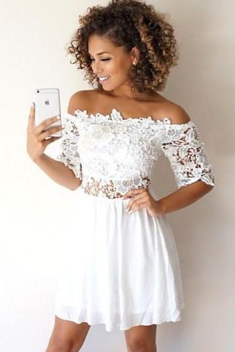 A-Line Off-the-Shoulder Half Sleeves White Homecoming Dress with Lace Short Prom Dress