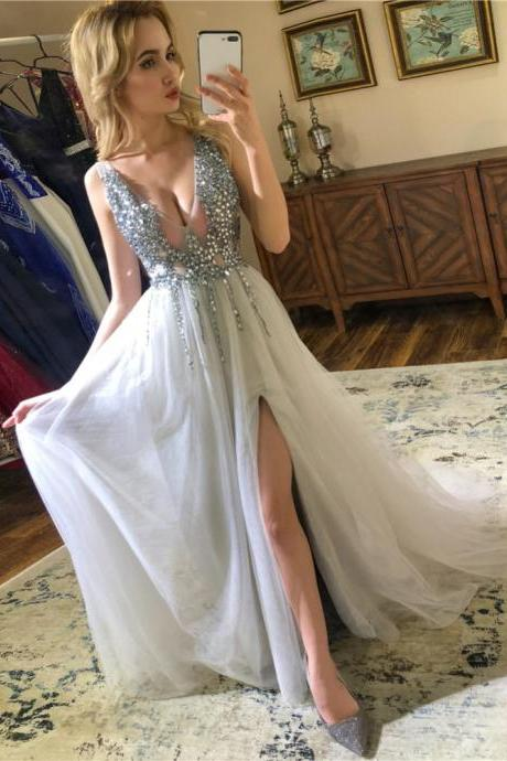 Silver V Neck Sparkly Prom Dresses 2019 Backless Evening Party Dress Elegant Sexy See Through High Split