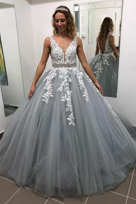 Gray V Neck Long Prom Dress for Teens, Puffy Appliqued Prom Dresses with Beading Ball Gown Evening Dress PD19501