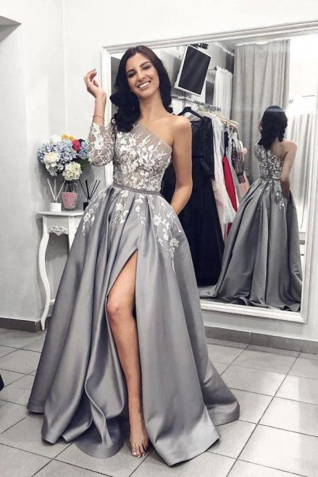 Gray One Shoulder Long Prom Dress 2019, Grey Long Sleeves Side Slit Evening Dress, A Line Prom Gowns