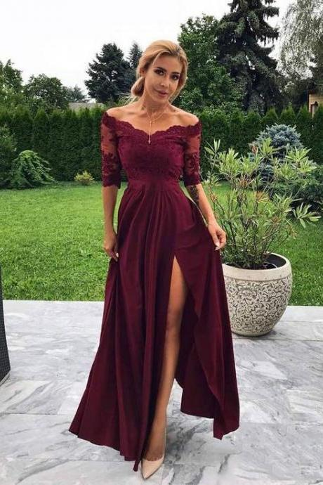 Burgundy lace long prom dress, burgundy evening dress 3/4 sleeves side slit formal party gowns, 2019 prom dress