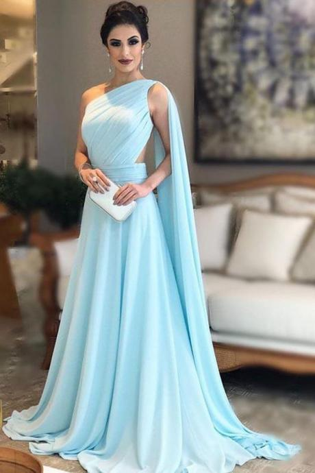 Light Blue One Shoulder Chiffon Formal Dresses Pleats Sheer Illusion Back Prom Gown 2019 Evening Party Dress PD19502