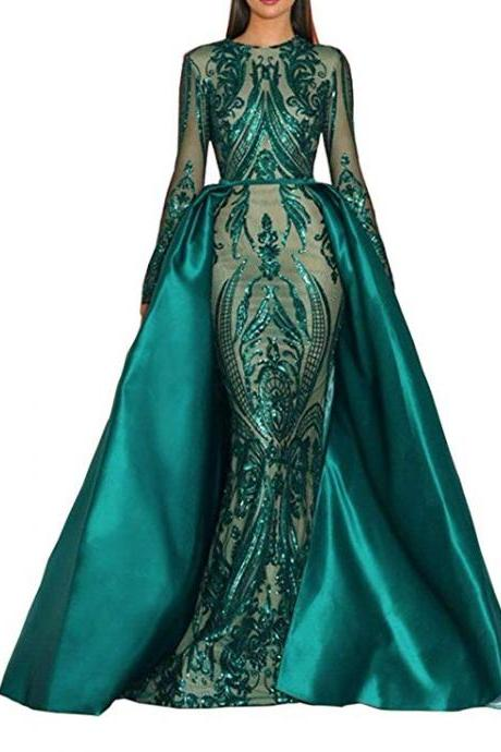 Hot Green/Burgundy Sequined Satin Mermaid Prom Dress 2019 Evening Party Dress Celebrity Pageant Gown Detachable Train