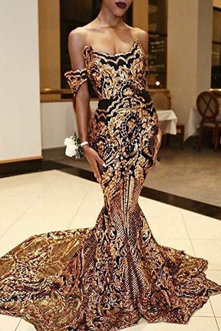 Hot 2019 Gold Bling Bling Sequined Mermaid Women's Prom Dress Evening Shower Dress Celebrity Party Gown