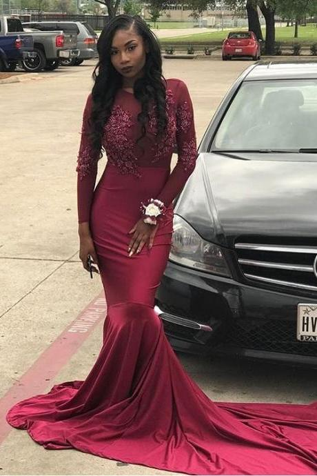 New Appliques Beads Burgundy Mermaid Prom Dress Sheer Long Sleeves Long Train Evening Party Dress 2019