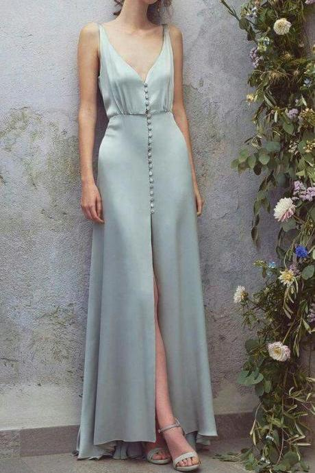 Sage Satin Long Prom Dress 2019 V Neck Women Formal Evening Party Gowns
