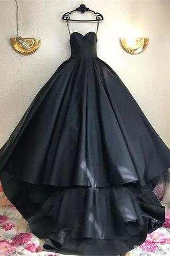 Strapless Black Prom Dresses Ball Gown Sweetheart Sweep Train Sexy Prom Dress Long Evening Dress