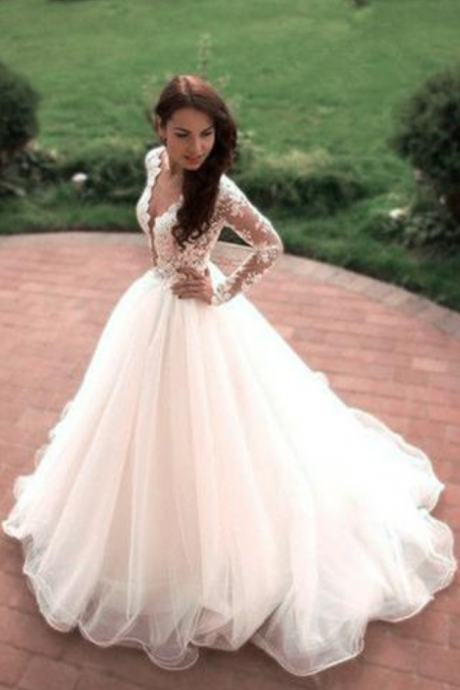 Princess A-Line V-Neck Tulle White Long Sleeves Wedding Gowns
