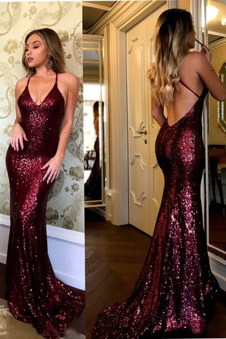 Sequined Prom Dress Charming Spaghetti Strap V-neck Burgundy Sequins Long Sexy Mermaid Prom Dresses Evening Party Gowns