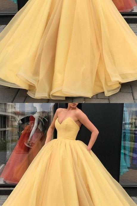 Yellow Ball Gowns Prom Dresses Organza V-Neck Corset Quinceanera Dresses For Sweet Birthday Party Gowns