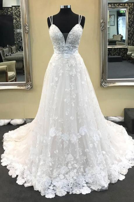 Ivory Wedding Dresses 2019,A Line Long Wedding Dress,Prom Dress with Appliques