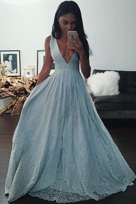 Long blue prom dress, Charming v-neck Prom Dresses, formal Evening Gown, Sexy prom dress,a line evening gown