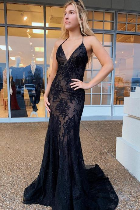 Mermaid Black Lace Spaghetti Straps Prom Dress, Long Formal Evening Dresses, Backless Sexy Women Party Gowns