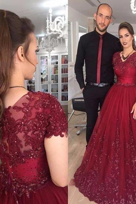 Wine Red V Neck Tulle Ball Gown Prom Dresses, Short Sleeves Evening Gowns, Ball Gown Evening Dresses ,Ball Gown Prom Dress