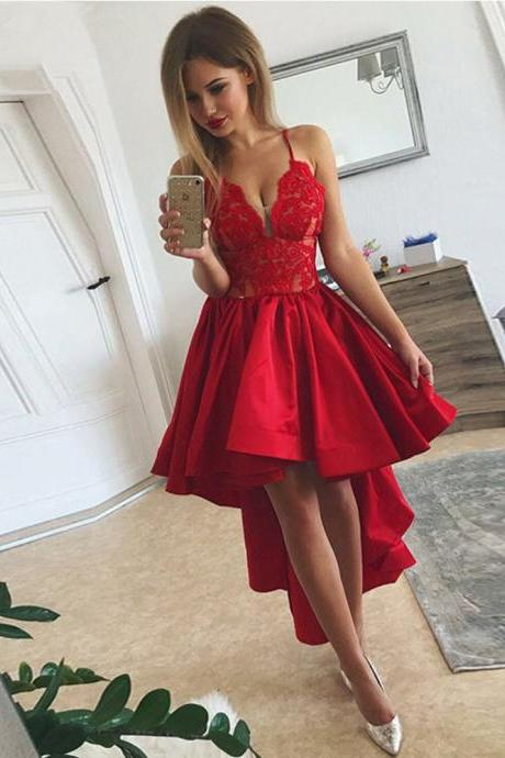 New Red Lace High Low Prom Dress 2019 Sexy Spaghetti Strap Deep V-Neck Evening Party Gowns Bridesmaid Dress Formal Dress