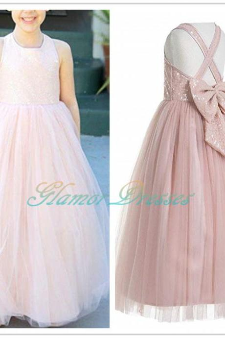 Crossed Straps A-Line Flower Girl Dresses Junior Bridesmaid Dress Formal Dresses Pink Flower Girl Dress Summer Girl Party Dress