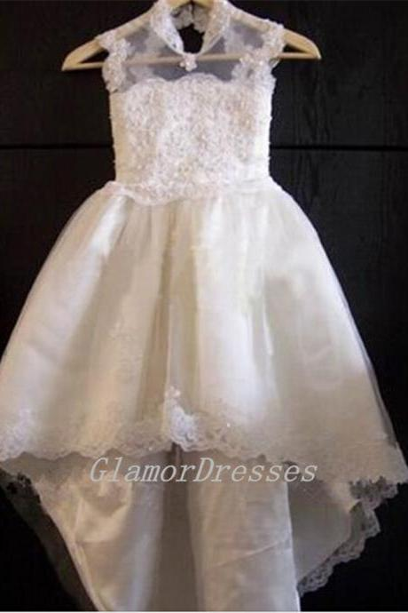 2016 New Hot Sale High Neck Ball Gown Flower Girl Dresses Cap Sleeves Girls Pageant Dress Lace Appliques Custom Made Girls Christmas Dresses Girls Wedding Party Dresses Flower Girls Dress with Beading Sash Tulle Lace Long Flower Girl Dresses 2016 Girls First Communion Dresses vestido de daminha Girls Christmas Dress Girls Birthday Dress Wedding Party Dresses