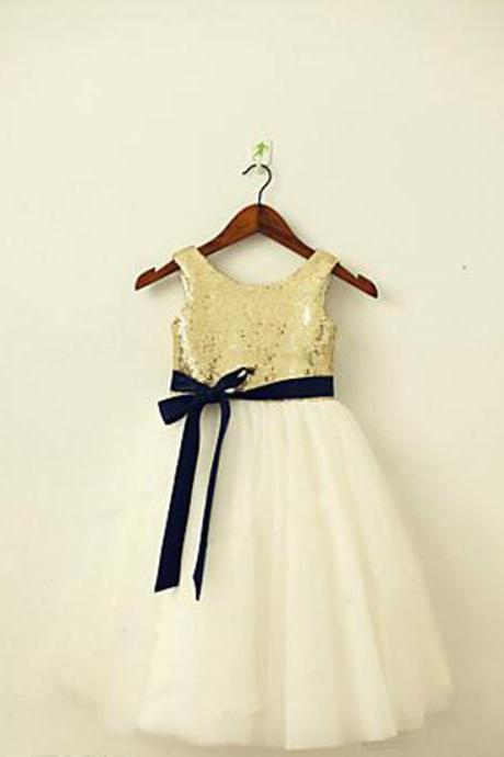 Gold Sequins Ivory Tulle Flower Girls Dresses with Navy Blue Sash,Tea-Length Flower Girl Dresses, Flower Girl Dresses, Girls Communion Dresses, Girls Wedding Party Dresses, Toddler Litter Girl Dress, Girls Holy Communion Dress, Girls Christmas Dresses, Custom Made Girl Dress for Girl 2-14