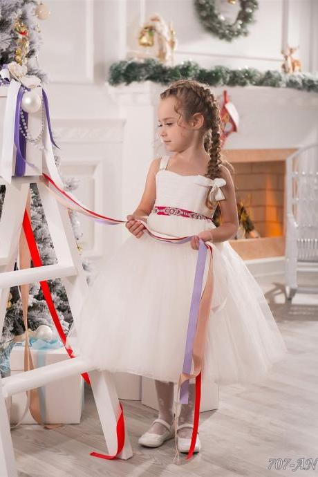 Pretty Red Sash Flower Girl Dresses,Ivory Flower Girl Dresses,Flower Girl Dresses,Girls Christmas Dresses,Tea Length Girls First Communion Dresses, Girls Wedding Party Dresses,Lace-up Back Flower Girl Dress,New Arrival Flower Girl Dress,Custom Made Girl Dress for Girl 2-14