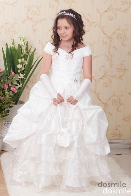 Cap The Sleeves White Princess Flower Girl Dresses, Princess Ball Gown Girls Pageant Dresses, Flower Girl Dresses, Girls Wedding Party Dresses, Girls First Communion Dresses,Girls Pageant Dresses