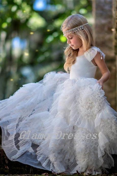 New Arrival Princess White Ivory Flowers Crystal Rosette Flowers Flower Girl Dresses Girls first Communion Tulle Rustic Girls Birthday Princess Dress Girls Pageant Dresses