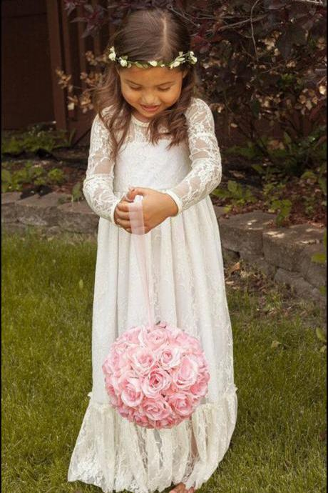 Vintage High Quality Flower Girl Dresses,White Flower Girl Dresses,Full Sleeves Flower Girl Dresses, Long Girls First Communion Dresses, Custom Made Girl Dress for Girl 2-14