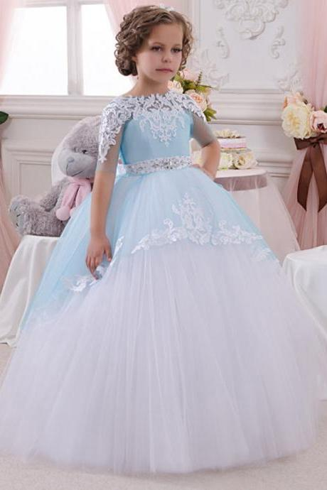 Ball Gown Blue and White Lace Flower Girl Dresses 2016 Cheap Plus Size Half Sleeve Princess Child First Communion Dresses.Flower Girl Dresses