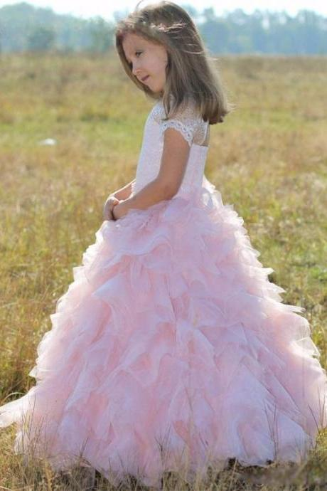b68de3c032 Princess Ball Gown Flower Girl Dresses Elegant Tulle Pink Appliques Girls  Fisrt Communion Dress Cheap Wedding
