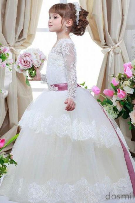 Flower Girls Dresses.High Quality Girl Dresse.Ball Gown Cute Ivory Lace Long Sleeves Flower Girl Dresses Beading Applique Child Girls First Communion Dresses Cheap