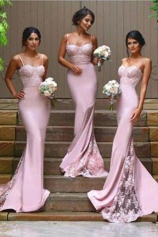 2017 Blush Pink Bridesmaid Dresses,Lace Prom Dress, Vestido Mae Da Noiva, Mermaid Formal Gowns,Blush Pink Evening Dresses,Blush Pink Prom Dresses,Sexy Bridesmaid Dresses,Spaghetti Straps Bridesmaid Dress