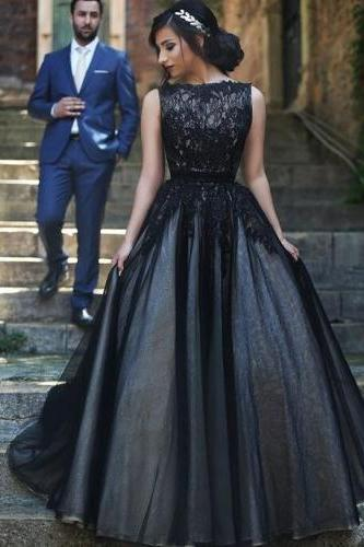 Black Prom Dresses,2017 Prom Dress,Lace Prom Dress,Tulle Prom Dresses,2017 Formal Gown,Simple Evening Gowns,Unique Party Dress,Lace Prom Gown,Ball Gown Evening Gowns For Teens