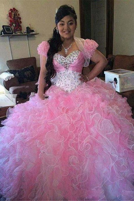 Pink Prom Dress, Ball Gown Prom Dress,Quinceanera Dresses, Pink Quinceanera Dresses, Quinceanera Dresses with Jacket, Junior Homecoming Dress, Teens Formal Prom Evening Dress,Sweet 16 Dress ,Pageant Dress,Vestidos 15 Anos Debutante