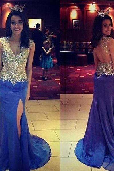 Backless Prom Dresses,Open Back Prom Gowns,Royal Blue Prom Dresses 2017,2017 Prom Dresses,Chiffon Open Backs Prom Gown,Fitted Prom Dress,Women's Pageant Dress,Prom Dance Dress