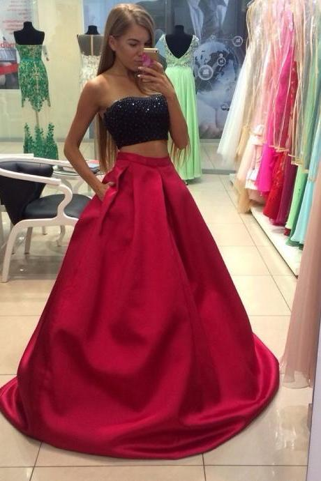 Two Piece Prom Dresses,Black Red Prom Dresses,A Line Prom Gown,2017 Prom Dress,Sexy Beads Prom Gowns,Homecoming Dresses,Beads Top Prom Dance Dress
