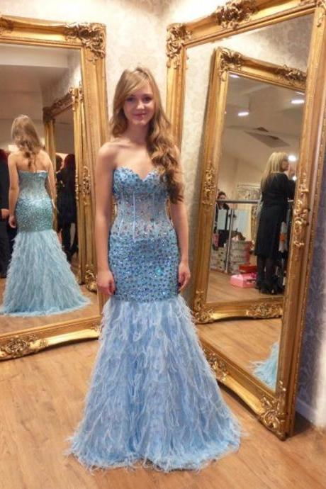 Prom Dresses,light blue Prom Gowns,feather Prom Dresses 2017,2017 Prom Dresses,beads Prom Dress,Fitted Prom Dress,Women's Pageant Dress,Prom Dance Dress,Beads Crystal Prom Dresses,Junior Princess Dresses