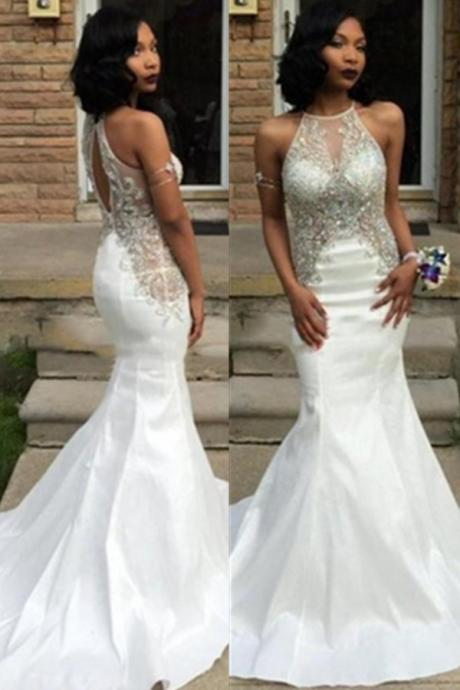 White Ivory Prom Dress,Mermaid Prom Dress,Simple Prom Gown, evening dresses,Sexy Evening dresses,exy prom dresses for teens,sexy prom dresses long,sexy prom dresses plus size