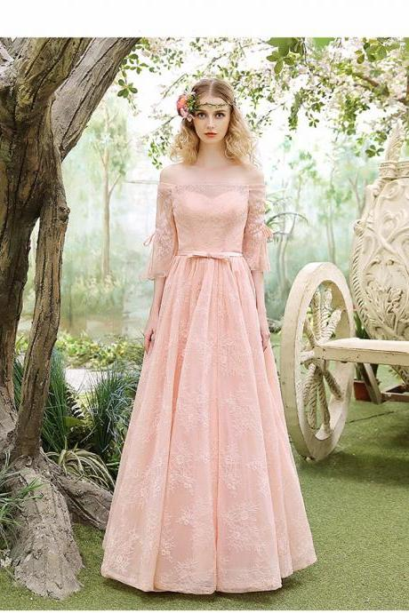 Prom Dresses Off-shoulder Evening Dresses Custom Made Party Gowns Evening Gowns Lace-up Back chiffon Evening Dresses Pink Homecoming Dress Formal Party Dance Dresses
