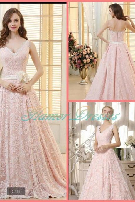 2017 Luxurious A-line New Arrival Pink Lace Prom Dress V Neck Court Train Prom Gowns Spaghetti Strap Prom Dresses Evening Dresses