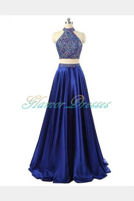Prom Dresses, Two Pieces Prom Dresses, 2 Piece Prom Dresses, 2017 Prom Dresses, Dark Royal Blue Evening Dresses, Beaded Prom Gowns, Prom Dresses with Halter, Pageant Dress, Prom Dress with Beadings