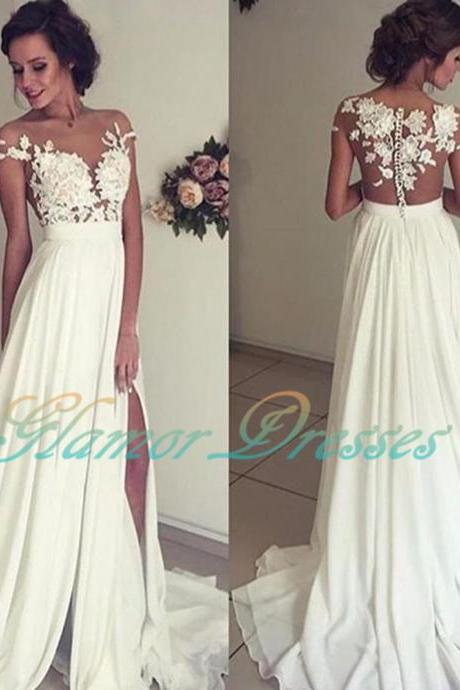 Vintage Chiffon Beach Wedding Dress Summer White Cap Sleeves V Neckline Fitted Split Boho Wedding Dress 2016 Robe De Mariage 2017 Long Chiffon Wedding Dress