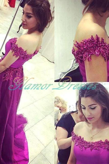Prom Dresses, purple Lace Prom Dresses, A Line Prom Dresses, Prom Dress with Cap Sleeve, Lace Prom Dresses Long, Off The Shoulder Prom Dress, 2017 Prom Dresses, Sexy Prom Dress