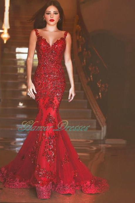 Sexy Burgundy Spaghetti Strap Tulle Mermaid Prom Dresses 2016 With Lace Beaded Long Red Evening dress Court Train Backless prom Gown 2017 Mermaid Prom Dresses