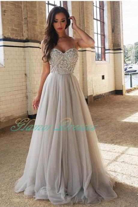 2017 New Design Sliver Rhinestones Prom Dresses Long Party Evening Gown Straps Tulle Beaded Zipper Back Floor Length Maxi Dress